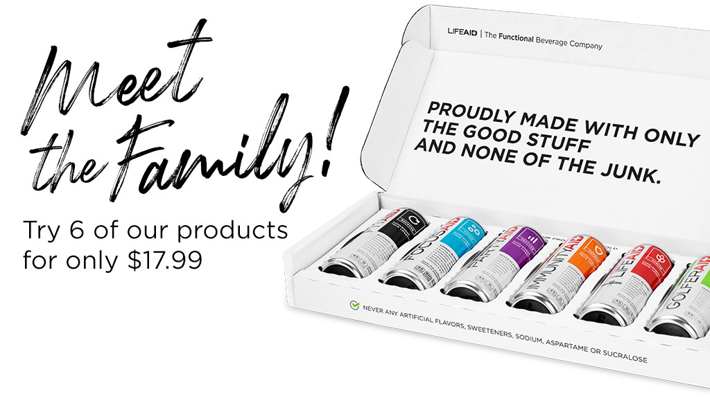 Meet the family! Try 6 of our products for only $17.99